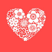 Flower heart on red romantic greeting card, vector background — Stock Vector