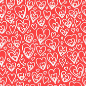 White hearts on red seamless pattern, vector — Stock Vector