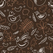 Birds and leaves brown spring seamless pattern, vector — Stock Vector