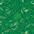 Birds and leaves green spring seamless pattern, vector - Stock Vector