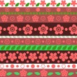 Stock Vector: Floral striped seamless pattern in red and green, vector