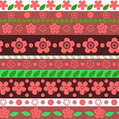 Floral striped seamless pattern in red and green, vector — Stock Vector