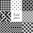 Black and white seamless patterns collection, vector — Stock Vector