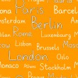 Stock Vector: Europecities typographic orange seamless background, vector