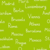 European cities typographic green seamless background, vector — Vetor de Stock