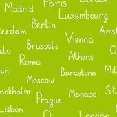 Europeiska städer typographic grön sömlös bakgrund, vektor — Stockvektor