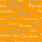 типографские оранжевый фон европейских городов, вектор — Cтоковый вектор