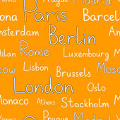 European cities typographic orange seamless background, vector — Stock Vector