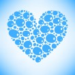 Blue water drops heart vector card background — Stock Vector #19011141