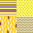 Simple geometric seamless patterns in yellow and purple set, vector — Stockvectorbeeld