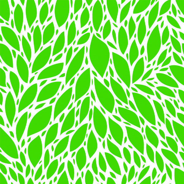 Green spring leaves seamless pattern, vector