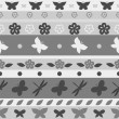Striped butterfly seamless pattern in shades of grey, vector — Stock Vector