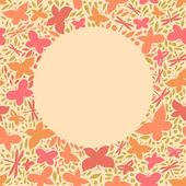Motýli kruh rám na jaře pozadí, vektorové karta — Stock vektor