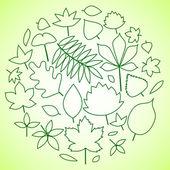 Hojas verdes círculo composición de fondo, vector — Vector de stock