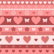Hearts and stripes seamless pattern, vector - Stock Vector