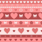 Hearts and stripes seamless pattern, vector — Stock Vector