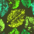 Fresh green leaves traces seamless pattern, vector — Stock Vector