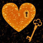 Zamek w kształcie serca i tło grunge klucz, wektor — Wektor stockowy