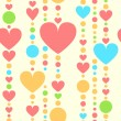 Colorful hearts and beads threads seamless pattern, vector - Stock Vector