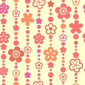 Flower and bead threads seamless pattern in white, vector — Stock Vector