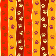 Bright cats or dogs paw print and stripes seamless pattern, vector — Stock Vector
