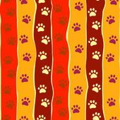 Bright cats or dogs paw print and stripes seamless pattern, vector — Stockvector