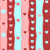 Colorful hearts and stripes seamless pattern, vector — Stock Vector