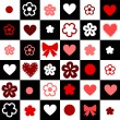 Checkered black and white seamless background with hearts and flowers, vector - Stock Vector