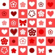Checkered red and white seamless background with hearts and flowers, vector — Stock Vector