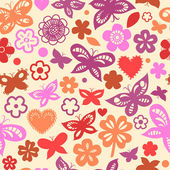Colorful floral seamless pattern with hearts and hearts, vector — Stock Vector