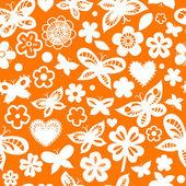 Oranje en witte bloemen naadloze patroon met hart en hart, vector — Stockvector