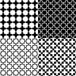 Stock Vector: Moroccblack and white seamless patterns set, vector