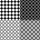 Moroccan black and white seamless patterns set, vector — Stock Vector
