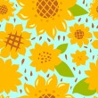 Colorful bright sunflowers seamless pattern, vector — Vettoriali Stock