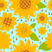 Colorful bright sunflowers seamless pattern, vector — Stock Vector