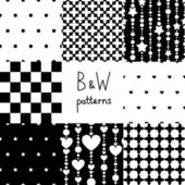 Various black and white seamless patterns set, vector — Vetor de Stock