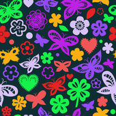 Bunte Schmetterlinge auf schwarzes nahtloses Muster, Vektor — Stockvektor