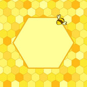 Honeycomb background with a hex frame for your text and a cartoon bee, vector — Vetor de Stock