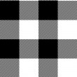 Stock Vector: Checkered black and white simple fabric seamless pattern, vector