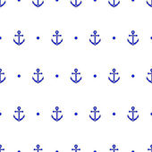 Anchor and dot in blue and white seamless pattern, vector — Stock Vector