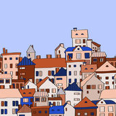 Panorama town in european style seamless pattern, blue and beige, vector — Stock Vector