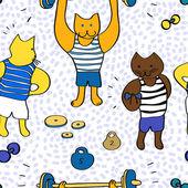 Funny cartoon bodybuilder cats seamless pattern, vector — Stockvektor