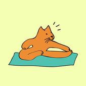 Gato de dibujos animados lindo naranja en posición de yoga, vector — Vector de stock