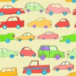 Cute colorful cartoon cars seamless pattern, vector — Stock Vector