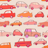 Cute cartoon cars in red seamless pattern, vector — Stock Vector