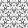 Traditional japanese waves ornament in black and white seamless pattern, vector - Imagen vectorial