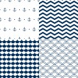 Navy vector seamless patterns set: scallop, waves, anchors, chevron — Stock Vector