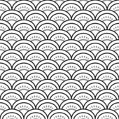 Traditional japanese waves ornament in black and white seamless pattern, vector — Vetor de Stock