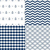 Navy vector seamless patterns set: scallop, waves, anchors, chevron — Vetor de Stock