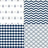 Navy vector seamless patterns set: scallop, waves, anchors, chevron — Stock Vector